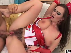 Pretty girl gets her hairy cunt banged