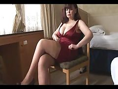 Big tits mature milf shows off sheer panties stockings and cleavage then slowly strips and spreads