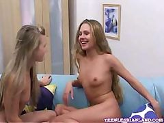 Teen lesbians fuck each other with strapon for the first time