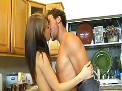 Skinny chick Sensi Pearl gets a boner to fill her crack in the kitchen