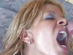 Saucy Rio Mariah gets sprayed with warm nut juice