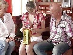 Blonde gf meets bf's parents