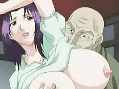 Sweety hentai babe with giant knockers getting delicious pussy fingered by a bald dude