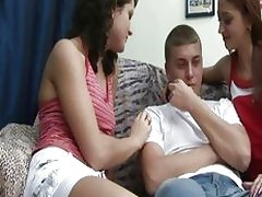 Dude tied and tormented by two mean babes