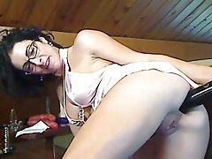 French milf baseball bat insertion on webcam