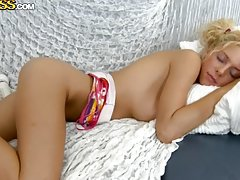 Teen Blonde Likes to Play in the Couch