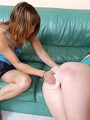 Asian hottie spanks her white girlfriend