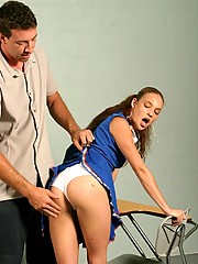 Rachels ass is spanked and then jizzed on