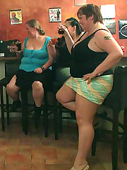 The incredible plumper porn scene has three ladies and three men going at it in an empty bar
