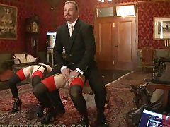 Butler Makes Two Submissive Girls Play with Sex Toys and Machine in BDSM