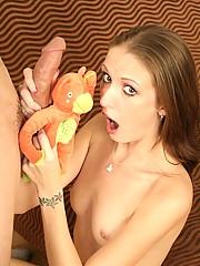 Brunette Hailey Young Deep Throats Cock