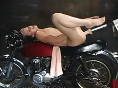 Hot Biker Chick Fucked by a Machine on Her Motorcycle