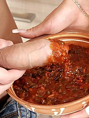 Chilli covered pussy gets licked and fucked in this food fun