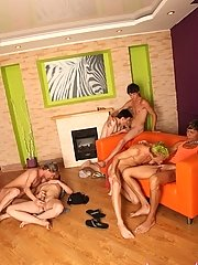 Skinny homos go all out on each other at the party