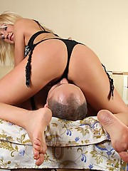 Balding slave gets tied hand and foot and forced to poke his mistress's juicy pussy with his tongue