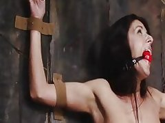 Bondage babe is tied to a wall and gagged