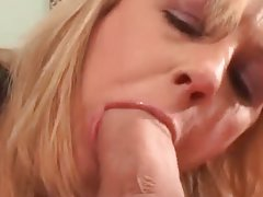 Horny milf gives nice blowjob and takes big cock.