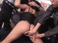This slut is fucked by three horny guys