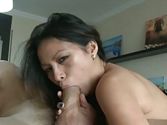 Asian bitch fucked by a monster cock