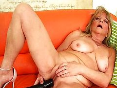 Grandma with big tits fucks big black dildo