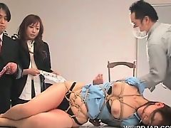 Asian sex slave gets submitted to sexual teasing in group
