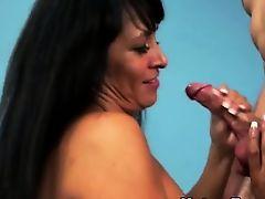 Big boob milf mature tugging on dick