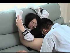 Jap school professor having a taste of little horny teen pussy