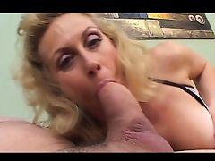 Horny blonde granny deep throats huge cock