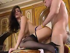 Tight ass brunette in stockings seduces bosses cock!