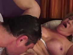 hairy granny snatch pounding on top