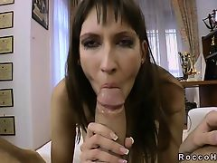 Skinny brunette sucks huge dick of Rocco Siffredi POV