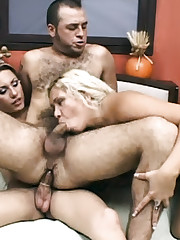 Blonde Shemale Threesome