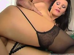 Stunningly busty girl  Karma  gets pounded hard by two