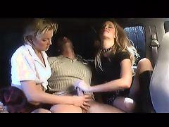 2 Girl Handjob in Limo
